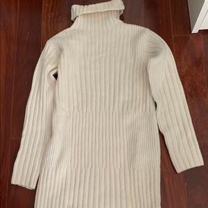 Max Mara Wool Blend Ivory Turtleneck Dress Midi